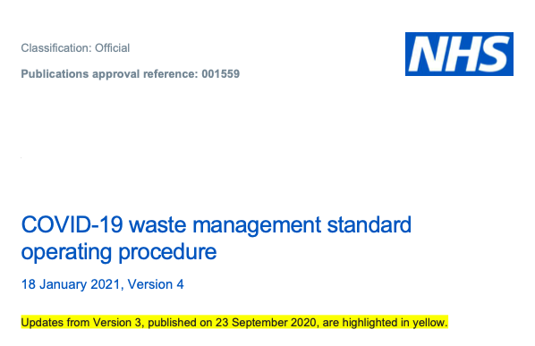 COVID-19 waste management standard operating procedure